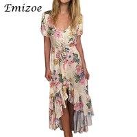Emizoe цветочным принтом богемное стильное платье женские короткие и пуговицы спереди Ruffed платье 2017 пляж асимметричное платье