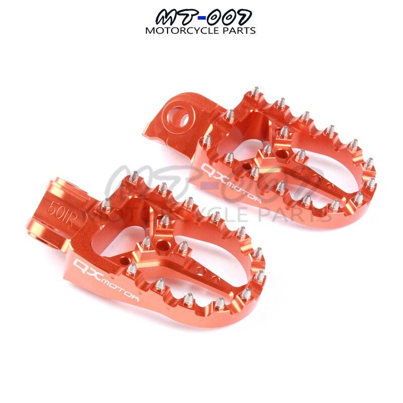 CNC orange Billet MX repose-pieds repose pédales repose-pieds pour SX SX-F EXC EXC-F pièces de moto QXMOTOR Logo livraison gratuite