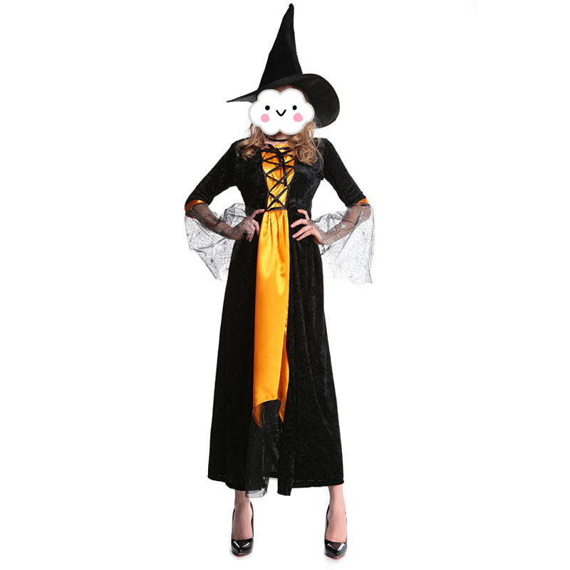 New adult women Witch Halloween Costumes orange and black witch cosplay costume sexy dress