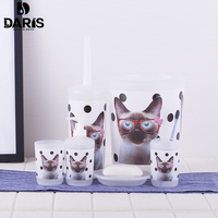 5PCS Cartoon Wearing Glasses Of Cat Bathroom Set Black Spots Trash Cans Beautiful Bathroom Accessories Set