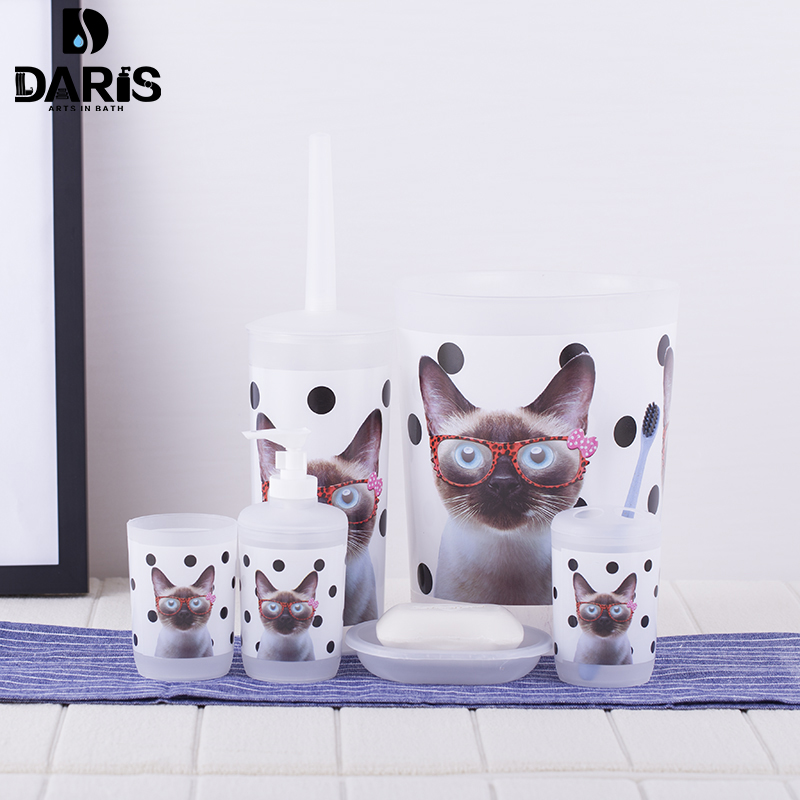 SDARISB 6PCS Cartoon Cat Bathroom Accessory Soap Dish Dispenser Bottle Toothbrush Holder Set Home Bathroom Products Wash Set