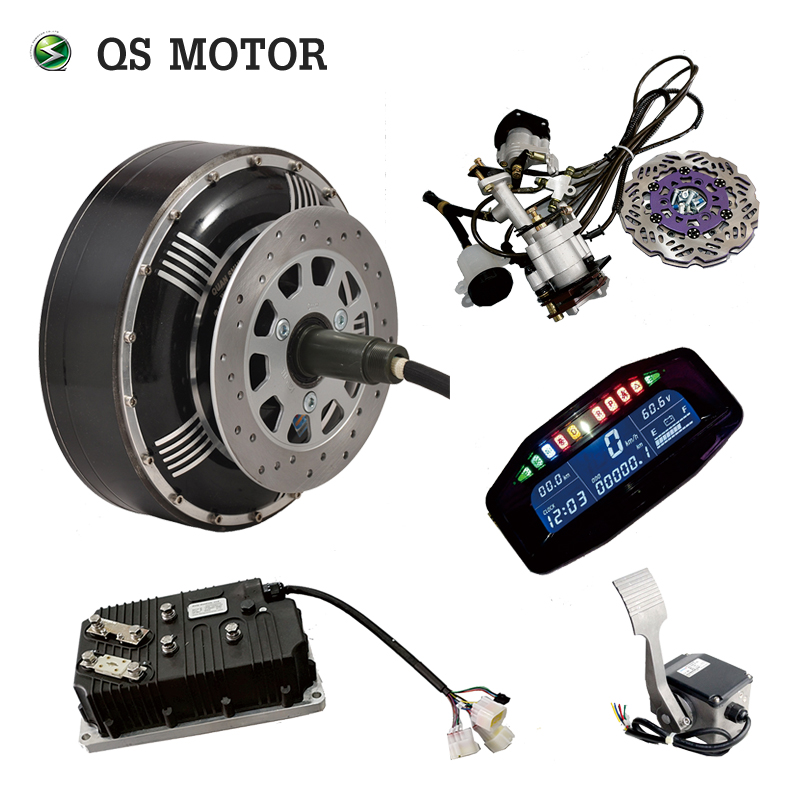 QS Motor 8000W 273 50H V3 120kph 2wd  20kw Peak BLDC Brushless Electric Car Conversion Kit Hub Motor With Kelly Controller
