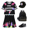 Harajuku max digital eye-hand doodle print neon color block short sweatshirt short skirt cell phone pocket three pieces set 1420