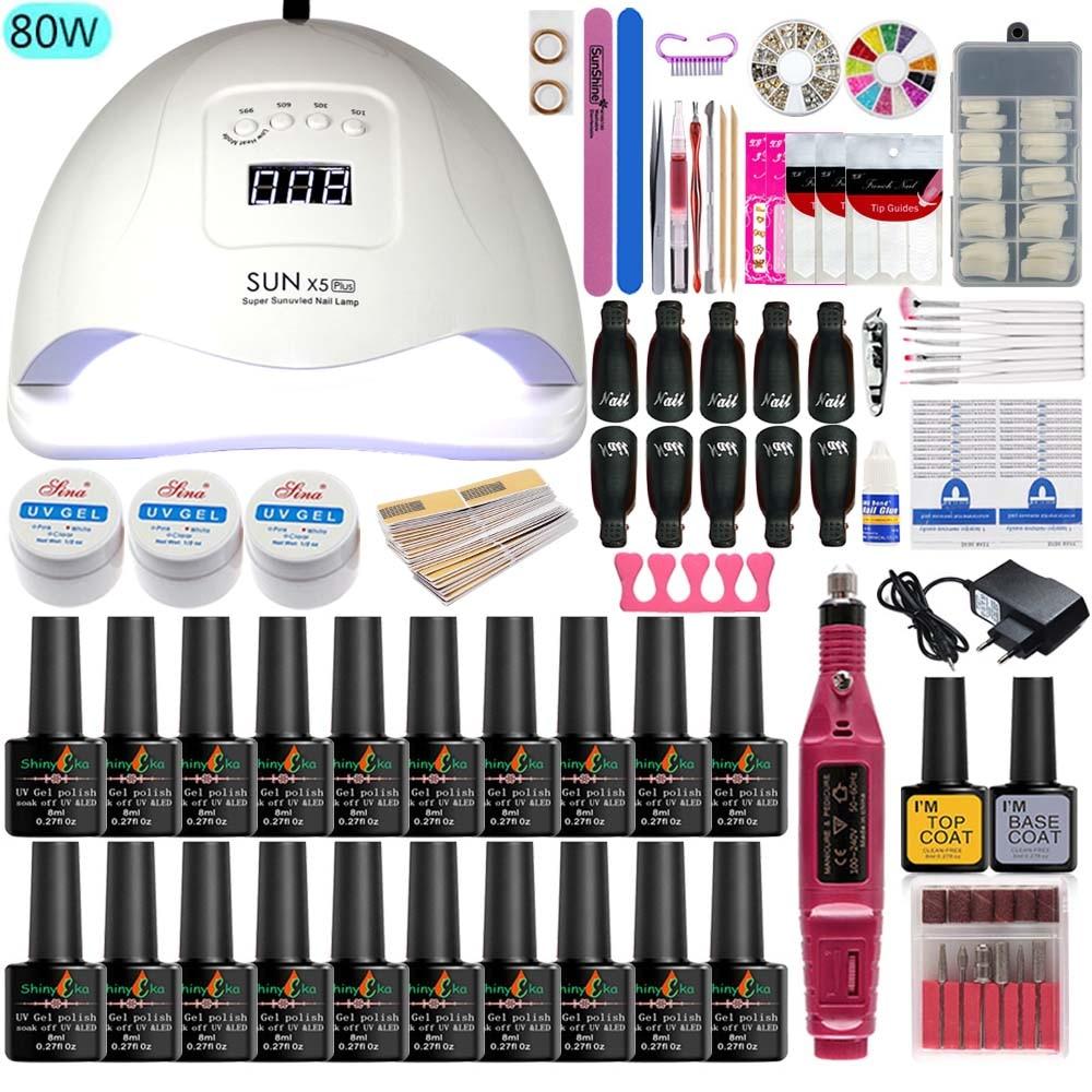 Nail Lamp 80w/48w/36w Nail Art Tool Manicure Set 20 Colors Gel Polish Nail Extension UV Gel Nail Kits Electric Manicure Handle
