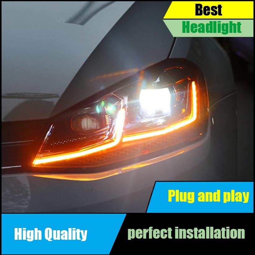 Car styling Headlights For VW Golf 7 MK7 GTI Headlight 2014 2016 Double U LED DRL Bi Xenon HID Low Beam Lens Front Head lamp