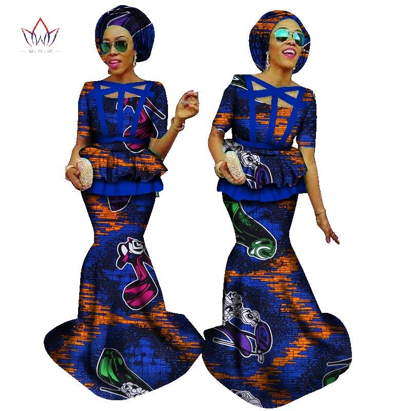 Femmes africaines Crop jupe Top grande taille Dashiki 2 pièce ensemble vêtements africains pour femmes coton imprimé cire costume + tête scaf WY1056