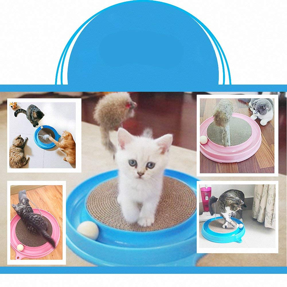 Cat Turbo Scratcher Toy, Cat Turbo Toy, Post Pad Interactive Training Exercise Mouse Play Toy with Turbo and Ball