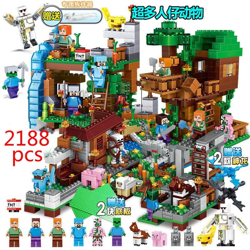 2188 pièces Mon Monde Dragons Chiffres blocs de construction Legoe Minecraft Village Cheval de Bataille Ville Cascade Baril en Jungle cabane