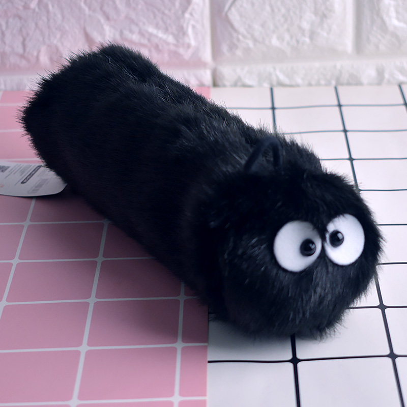 Candice guo! cute plush toy cartoon Totoro black coal coalball cylinder pencil bag stationery children girls birthday gift 1pc