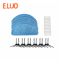 6pcs Microfiber Mopping Cloth & 6pcs HEPA Filter & 6pcs Side Brush Durable Home Cleaner for CEN250 CEN663 Vacuum Cleaner Parts