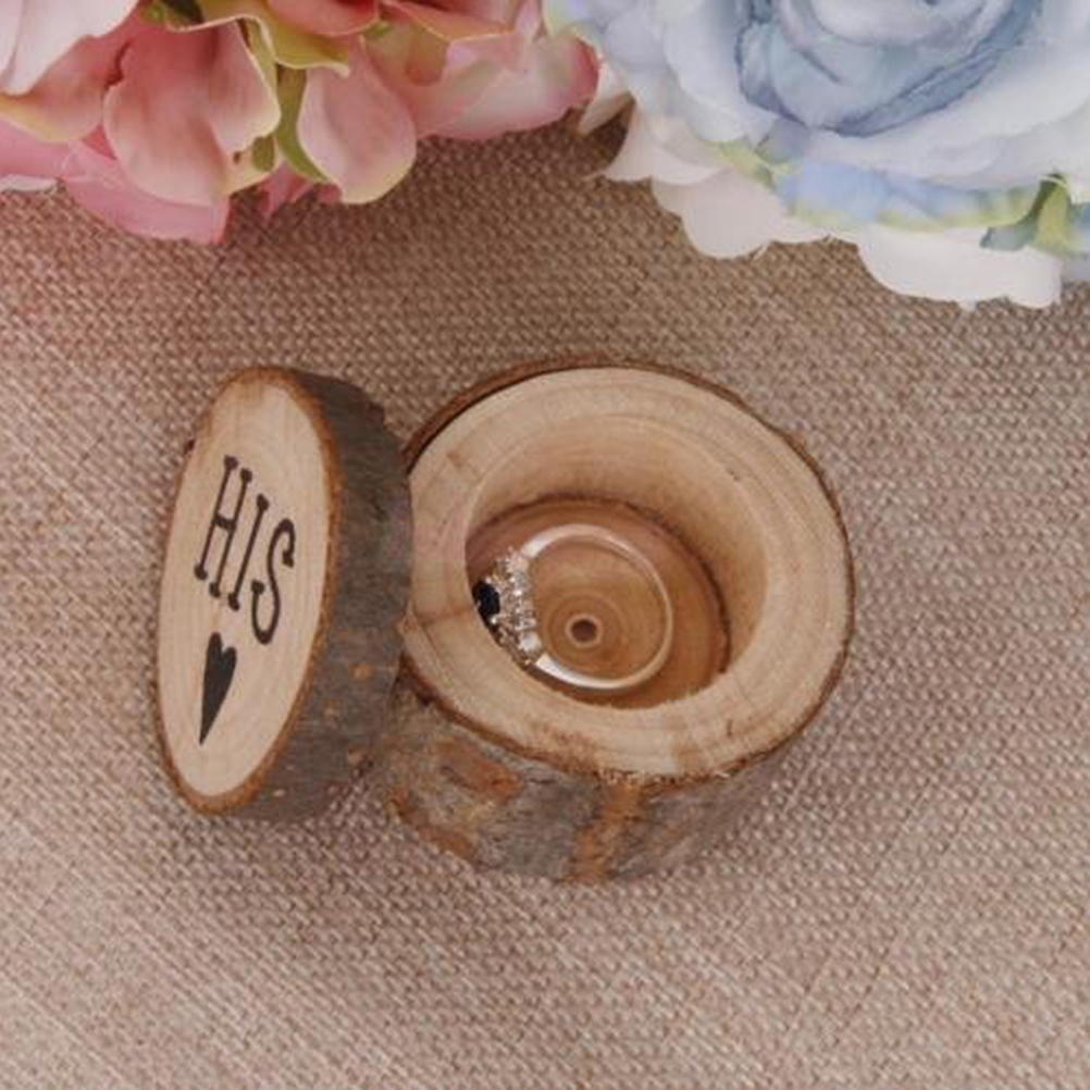 2pcs wooden printed hershis wooden ring bearer box wedding anniversary monuments rustic wedding ring boxes holder - Wedding Ring Boxes