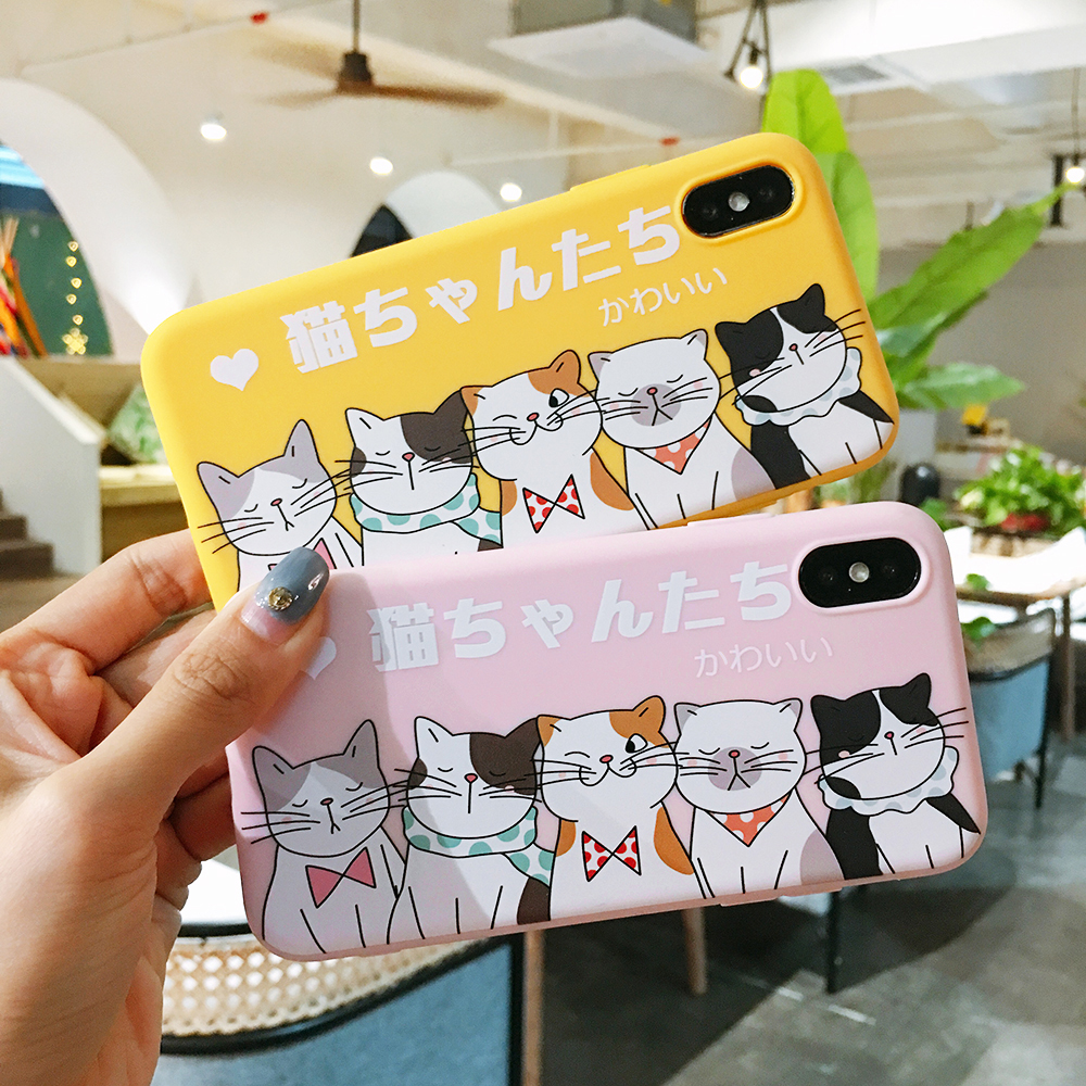 Cute Cartoon Friends Of Cat Sauce Soft TPU Case For iPhone XS XR XS MAX Coloured Drawing Case For iPhone X 6 6S 7 8 Plus Case image