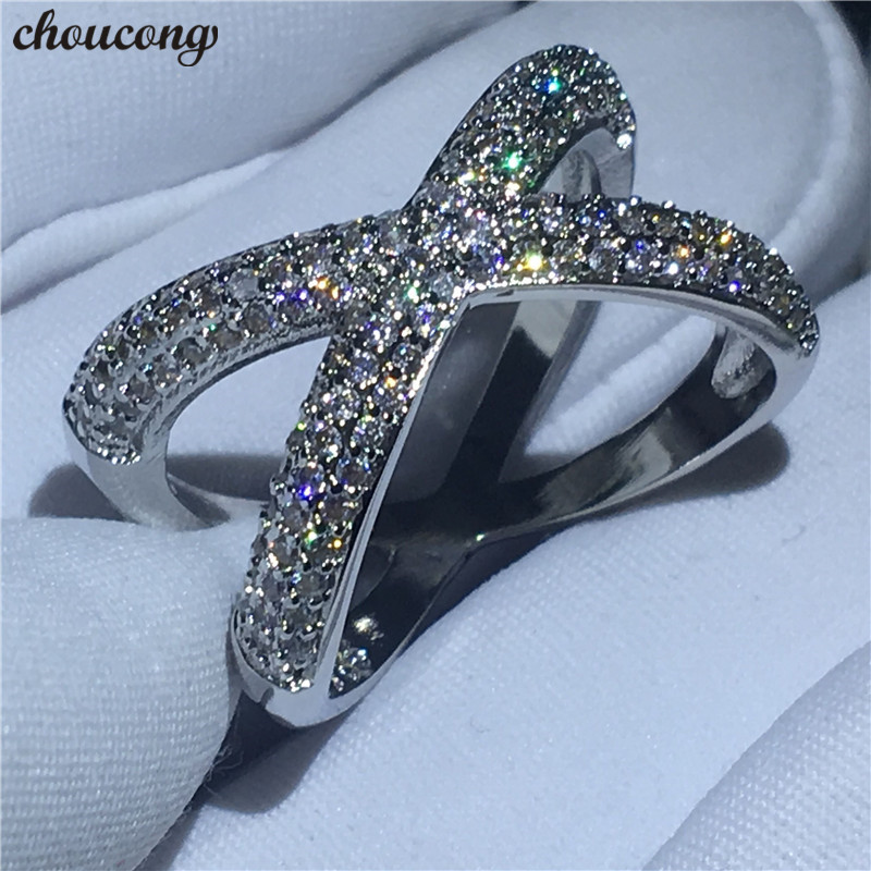 choucong Cross X Ring Pave Setting Zircon Cz White Gold Filled Engagement Wedding Band Rings for women men Finger Jewelry
