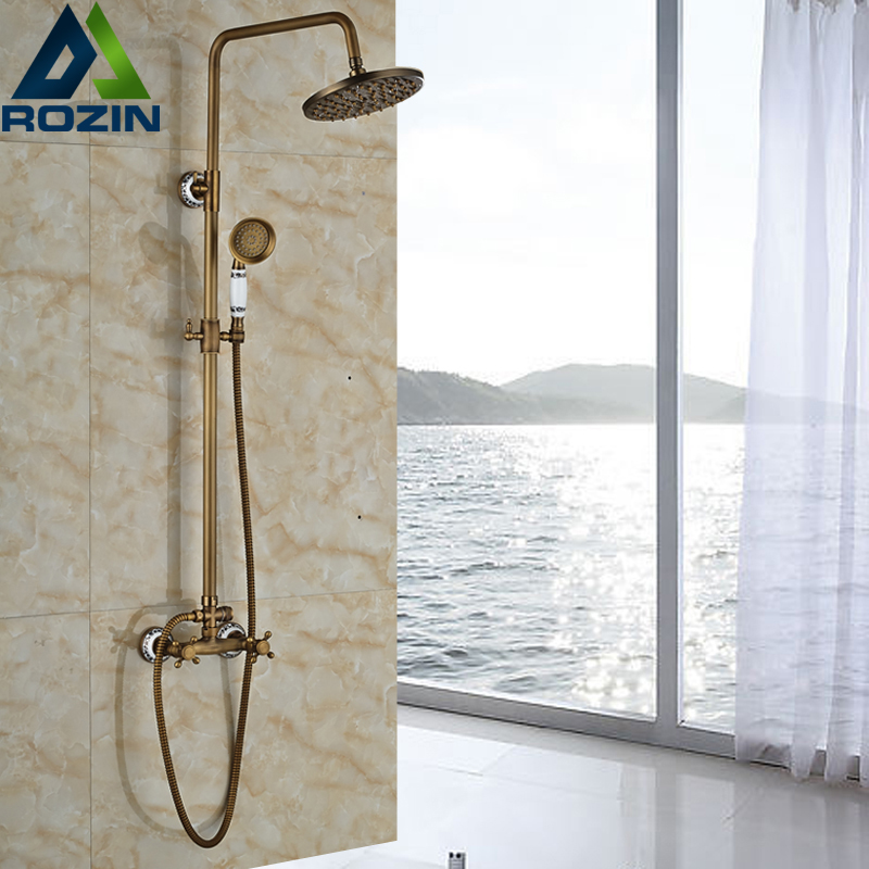 Luxury Brass Antique Wall Mount 8 Rain Shower Faucet Set Dual Handle Mixer Valve Hot and Cold Water Taps wall mount single handle bath shower faucet with handshower antique brass bathroom shower mixer tap