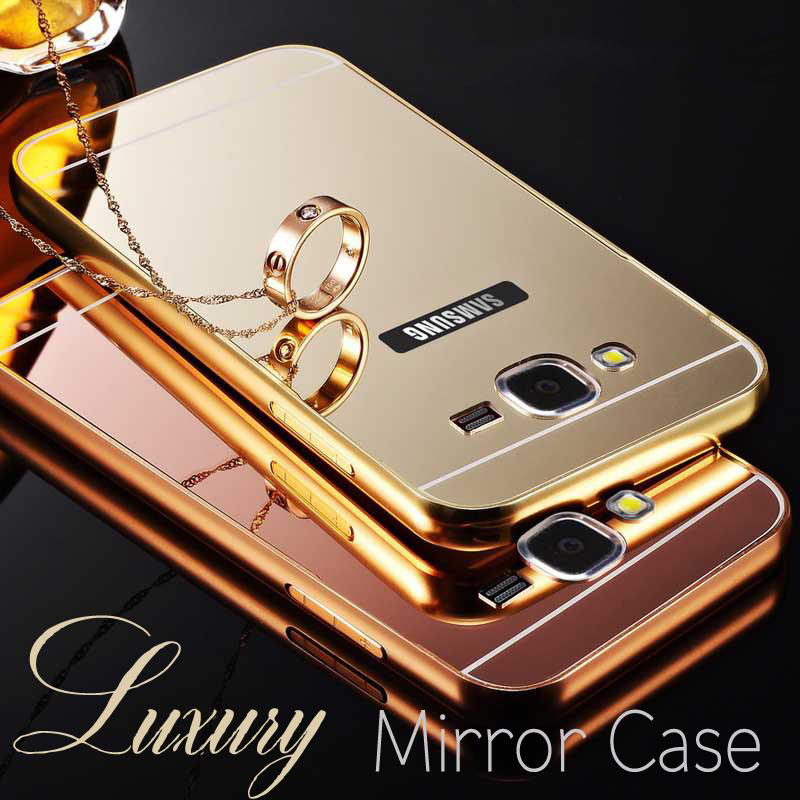 Phone Case For Samsung Galaxy J1 J3 J5 J7 A3 A5 A7 2016 Prime Ace S3 S4 S5 Metal Aluminum Frame Acrylic Mirror Cover Cases