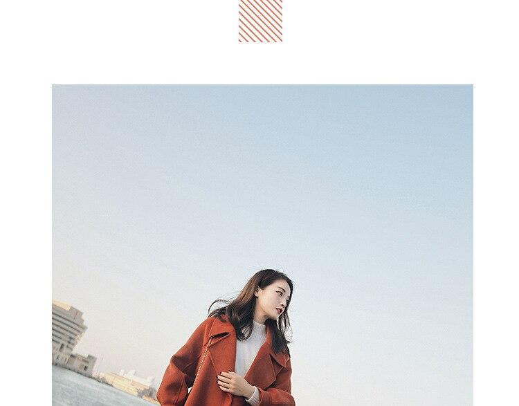Plus Size Loose Warm Wool Blends Long Winter Coat Turn-down Collar Adjustable Belt Wool Coats Women Office Work Wear Elegant 9