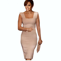2013 Newest Womens Elegant Summer Sleeveless Square Collar Back Full Zipper Bodycon Knee Length Party Pencil