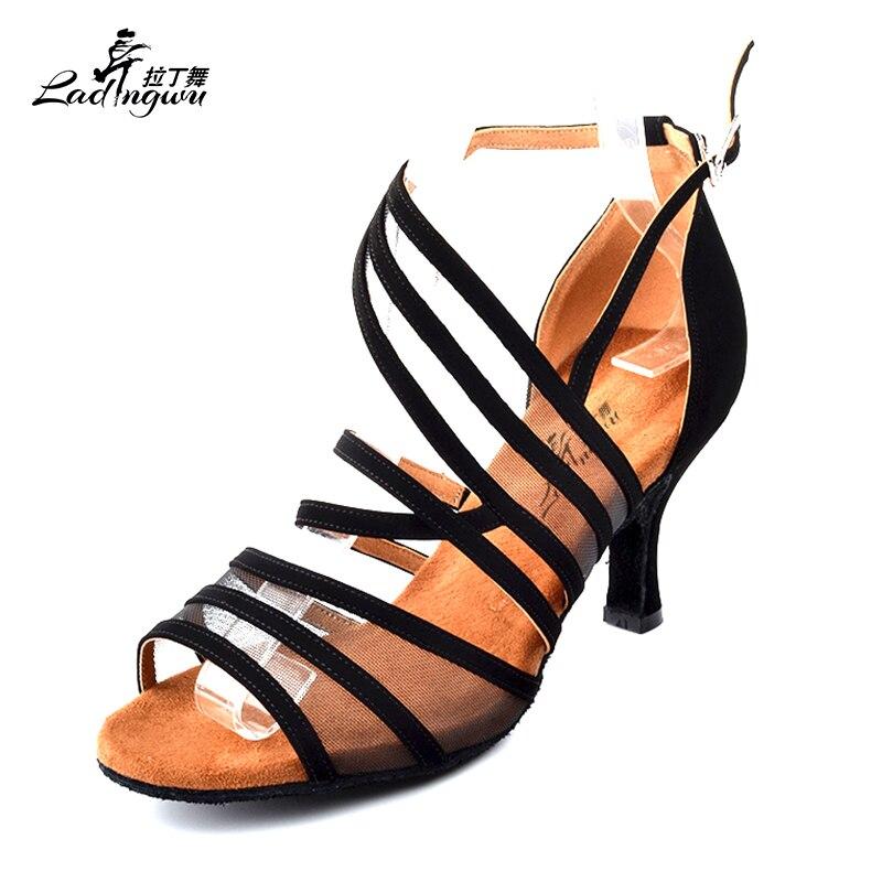 7e46e27e874 Zapatos negros de franela Ladingwu para mujer suave almohadilla de felpa  zapatos de baile latino Salsa zapatos de baile de salón tacones 6 7. 5 8. 5 10  cm