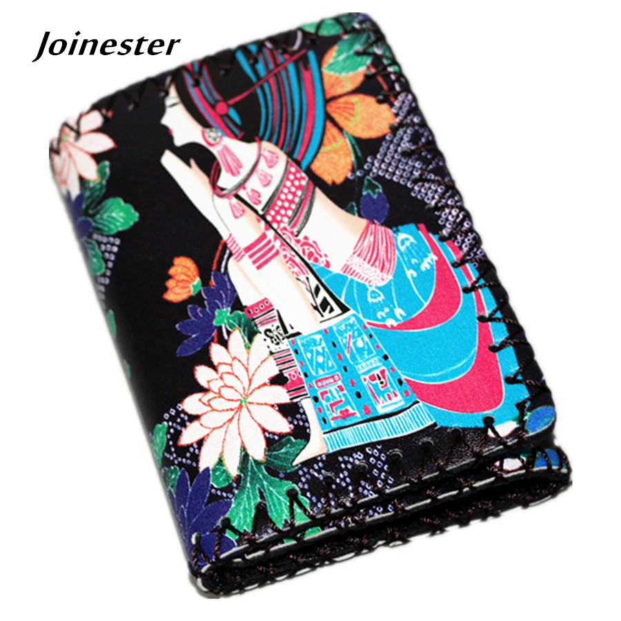Retro Women's Beauty Printing Vintage Short Wallet Fashion PU Leather Note Clip with Card Photo Holder Chinese Ethnic Mini Purse 1 design laser cut white elegant pattern west cowboy style vintage wedding invitations card kit blank paper printing invitation