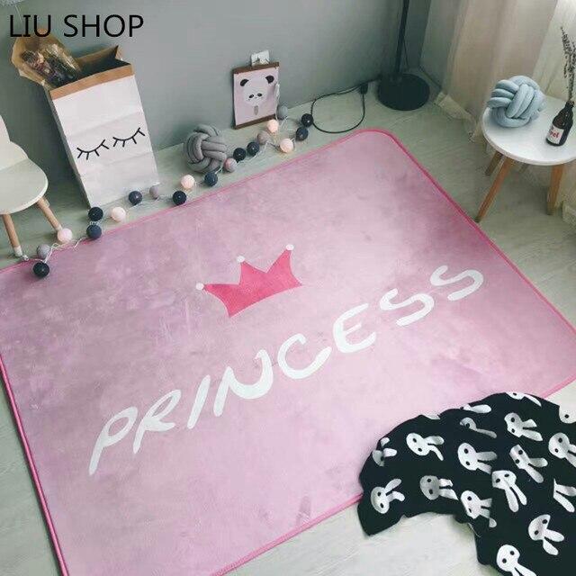 LIU Coral fleece pink crown princess carpet suede velvet girl ...
