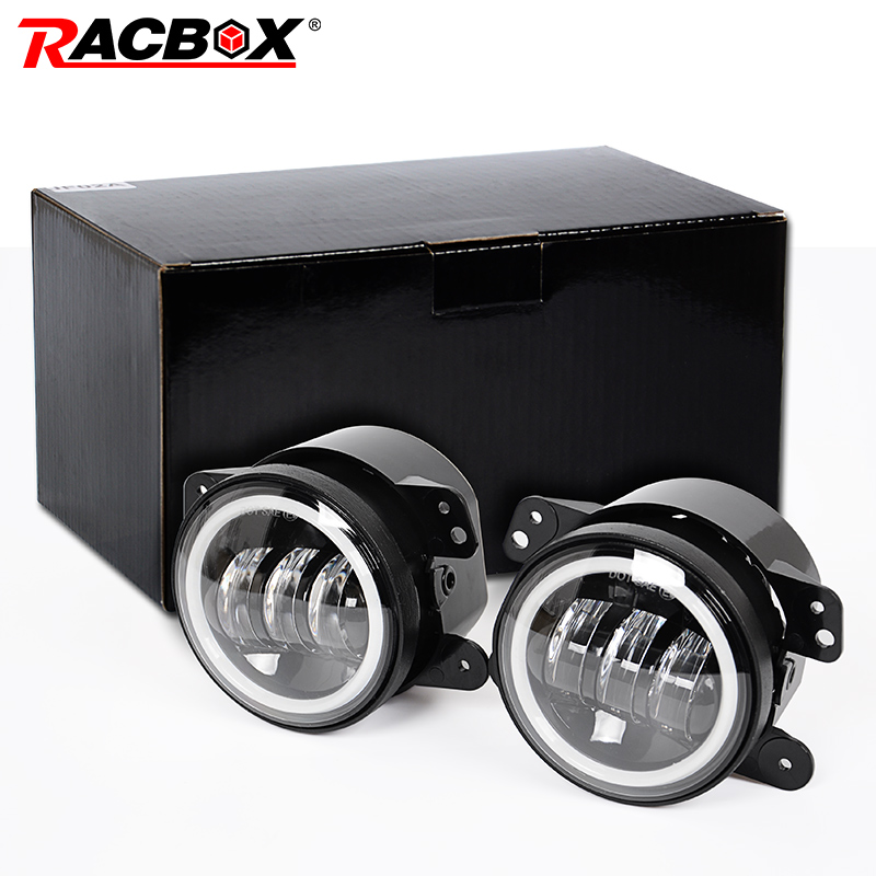 RACBOX 4 LED Fog Lamp Light Projector Lens 6000K White 30W with Halo DRL for Off Raod Jeep Wrangler JK 07-15 Plug and Play 2pcs waterproof projector led fog light with lens halo angel eyes rings cob 30w xenon white blue 12v suv atv off road fog lamp