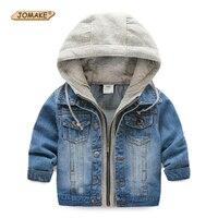 Kids Denim Coats Hooded Jean Jackets For Girls Boys Autumn Casual Cotton Patchwork Zipper Children Outerwear