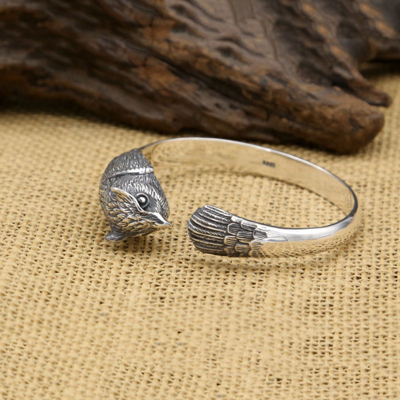 FNJ Punk Animal Owl Bangle 925 Silver Adjustable Size 56mm Fashion Original S925 Sterling Silver Bangles for Men Jewelry