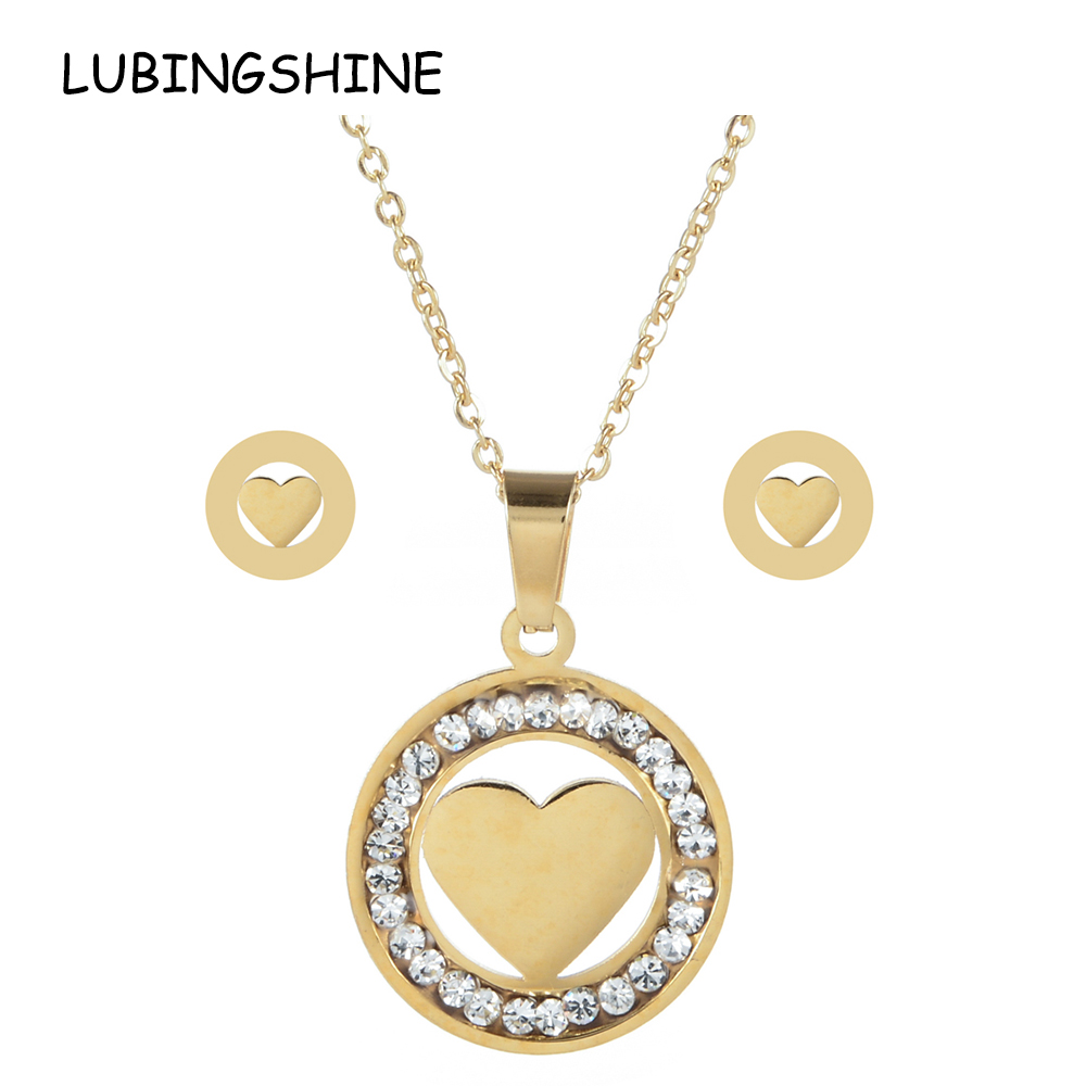 LUBINGSHINE Gold Color Women Love Heart Owl Tree Of Life Necklace Earrings Stainless Steel Bridal Wedding Jewelry Sets