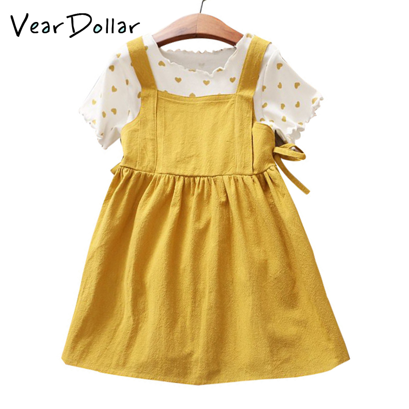 a92850023f1 Aliexpress.com   Buy VearDoller Girls Dress Set Heart Pattern T shirt +  Dress Two Pieces Set for 2 8 Years Kids Clothing Fashion Children s Sets  from ...