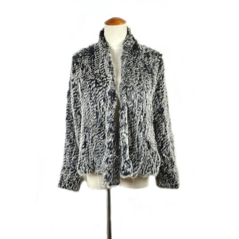Noir Avec Manteau Manteaux Tricot Cr002 Lapin Réel Tricoté Gel Pardessus Nouveau Femmes Fourrure De Veste 7TPqU0w