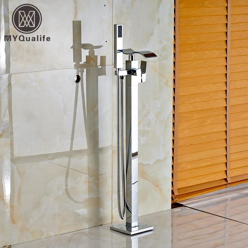 Luxury Chrome Waterfall Spout Floor Mount Bathtub Mixer