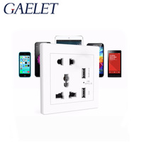2.1A Dual USB Wall Socket Charger AC/DC Power Adapter Plug Outlet Panel w/Switch Wall Charger Adapter EU Plug Socket XF30  Descr
