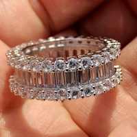 Größe 5-10 Shinning Hohe Qualität Luxus Schmuck 925 Sterling Silber Voll Weiß Klare AAAAA Zirkonia Frauen Hochzeit band Ring