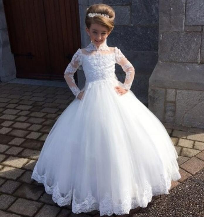 High Neck Long Sleeve Wedding for Little Kids Lace Appliques Ball Gown Flower Girls Dresses Elegant