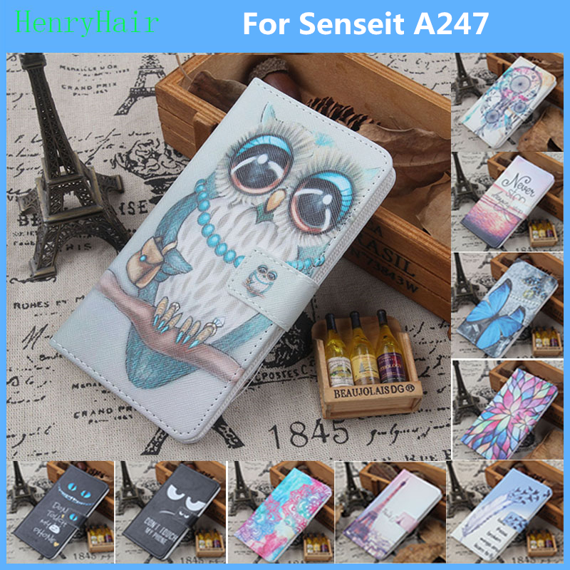 Fashion 11 Colors Cartoon Painting PU Leather Magnetic clasp Wallet Cover For Senseit A247 Case