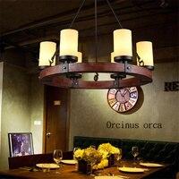 Americano Antico Lampadario in Ferro Cafe Sala da Pranzo Bar Industriale Personalità di Stile Creativo Candeliere Lampadario-in Lampade a sospensione da Luci e illuminazione su