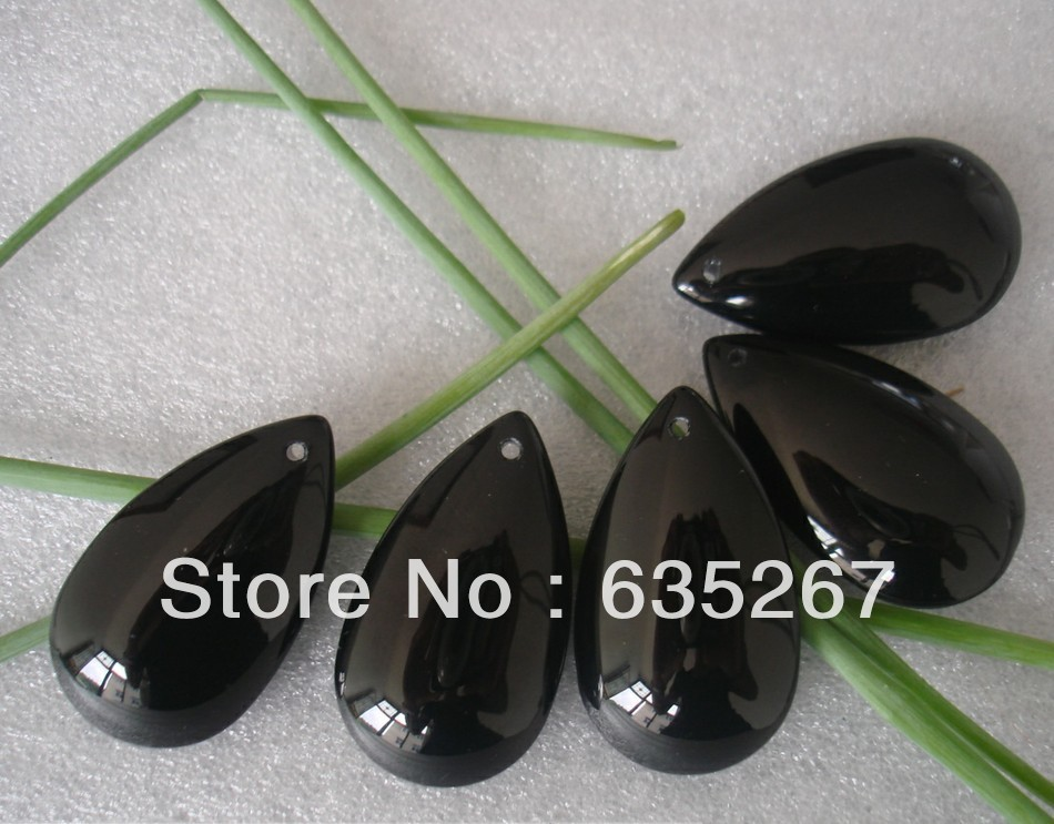 200pcs Lot Black Color 38mm Crystal Pear Crystal Curtain