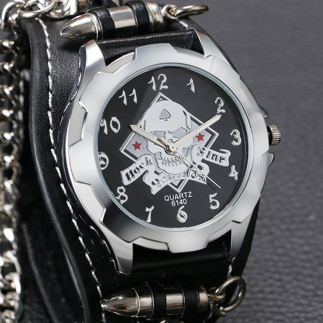 Creative Wrist Watch Skull Bullet Sport Rock Gothic Style Quartz Accessories Punk Trendy Men Cool Analog Stylish Chain Best Gift