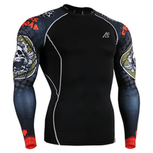 Compression T-Shirts Men Long Sleeves 3D Prints Tights Indoor/Multi-functional Wear Tops Elastic Breathable Quick Dry