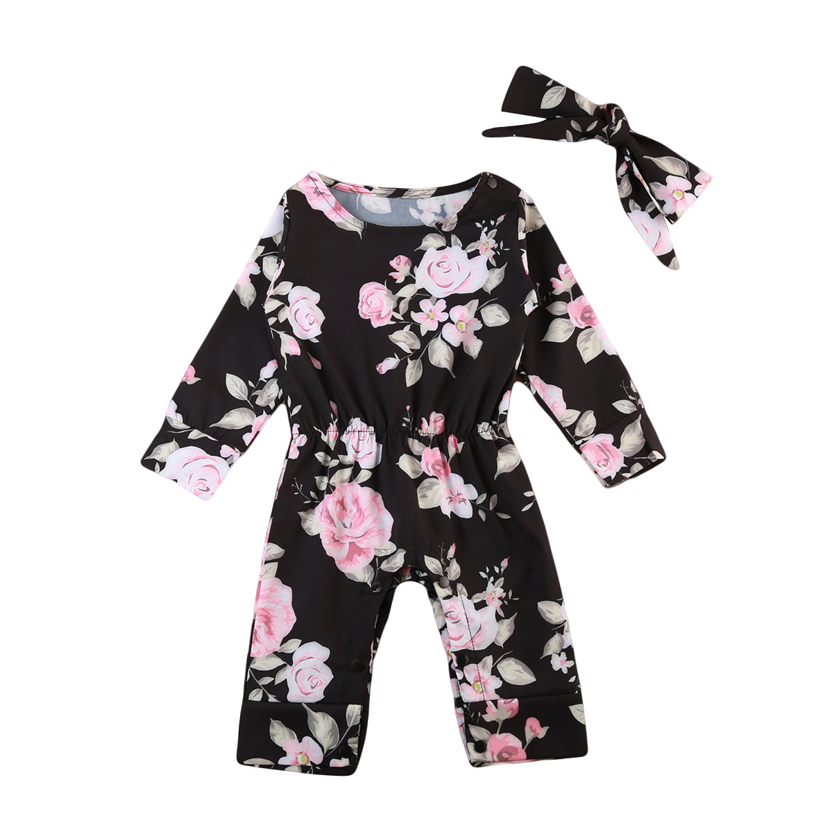 Newborn Baby Girls Floral Overalls Infant Baby   Rompers