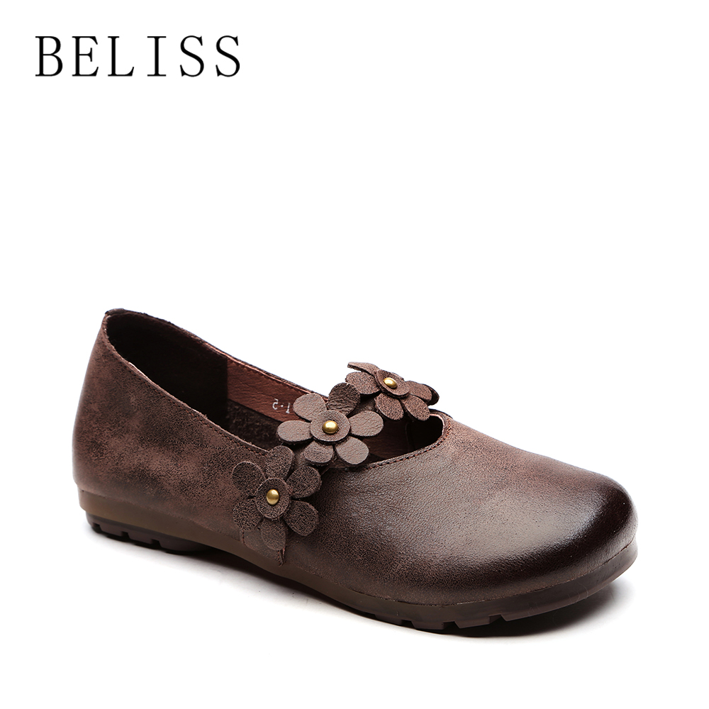 BELISS fashion women flats shoes high quality soft leather loafers women round toe flower rivet flats causal shoes ladies P10
