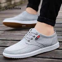 Cresfimix men fashion comfortable lace up canvas white shoes male cool plus size spring & autumn shoes man's 2018 shoes a2331