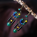 ethnic drop long dangle earrings for women green blue yellow agate bronze alloy flower hanging hook vintage jewelry new arrival