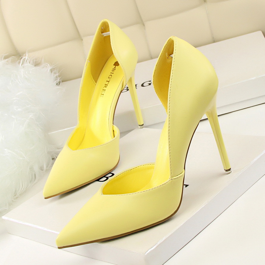Concise High Heels Women Pumps Shoes Yellow White Thin Heels Shoes Women Fashion Sexy Bride Wedding Shoes Ladies Pumps Stiletto