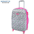 Manato Women's Luggage 22 Inch ABS Travel Luggage Leopard Fshion Trolley Suitcase Board Chassis Caster Cute Cartoon Luggage
