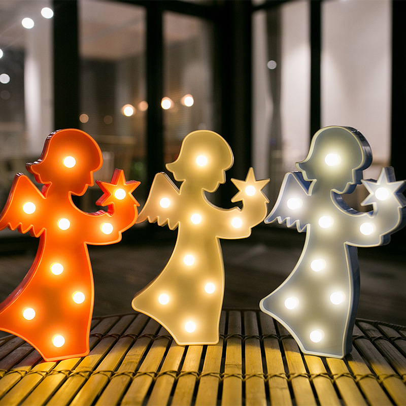 Lovely Angel LED 3D Light Night Light Kids Gift Toy For Children Bedroom Party Home Decoration Lamp Indoor Lighting ...