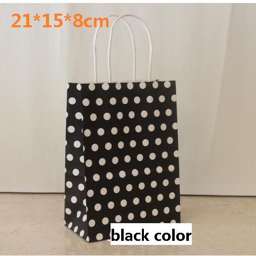 10pcs Lot 21 15 8cm Black With White Dots Kraft Paper Gift
