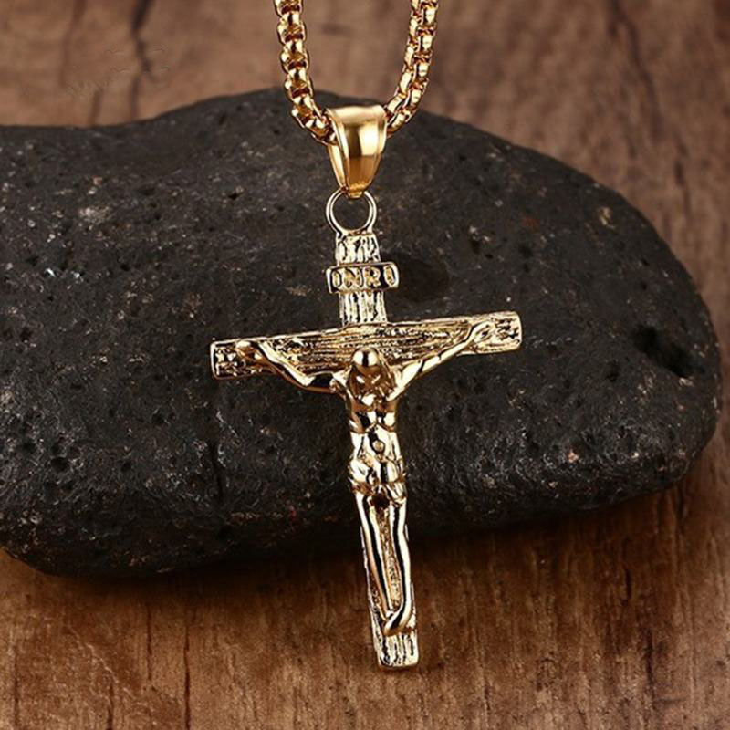 mens religious jewelry mprainbow mens necklaces stainless steel christian jesus 6758