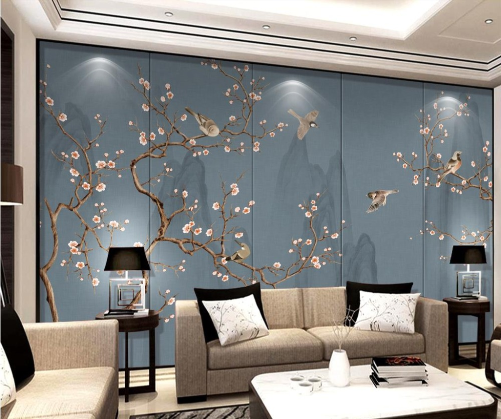Modern brief brick wallpaper photo flower and bird soft tv backdrop wallpaper 3d wall murals for bedroom home improvement