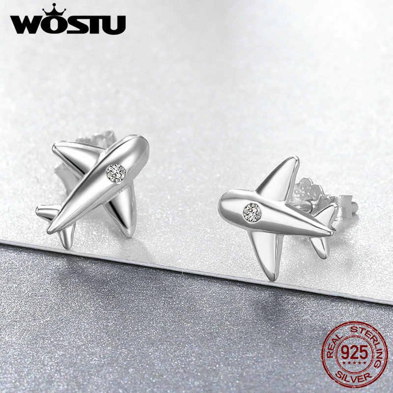 WOSTU ของแท้ 100% 925 เงินสเตอร์ลิงน่ารักคู่เครื่องบิน Stud ต่างหูสำหรับสาวผู้หญิง Party เครื่องประดับ Fine brincos ของขวัญ CSE153